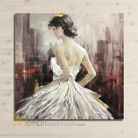 Tranh nổi sơn dầu cô gái - Lady Night