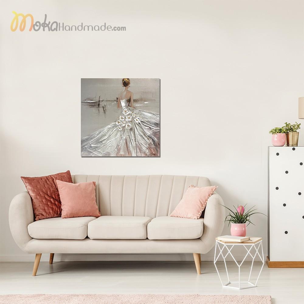 Tranh nổi sơn dầu cô gái - Bride phối cảnh