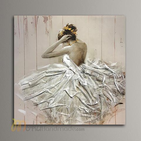 Tranh nổi sơn dầu cô gái - Dress up
