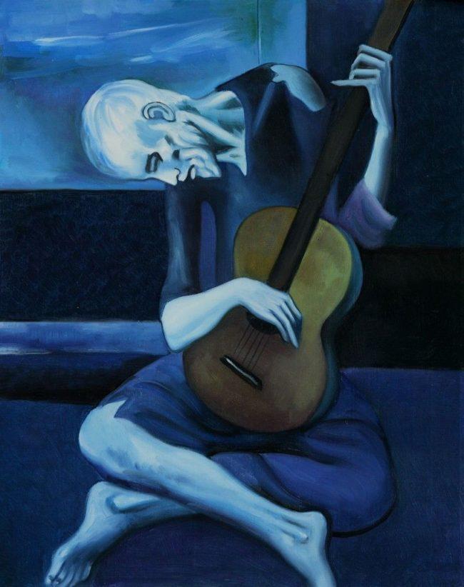 Nhac si Tay Ban Nha cam gia Le vieux guitariste Picasso