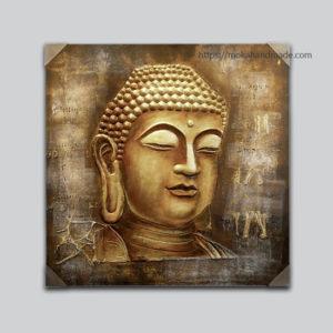 Tranh treo tường nội thất sơn dầu đắp nổi đầu Phật ( Buddha)