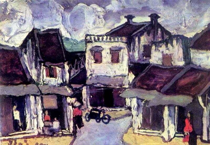 Tranh son dau pho co Ha Noi Bui Xuan Phai