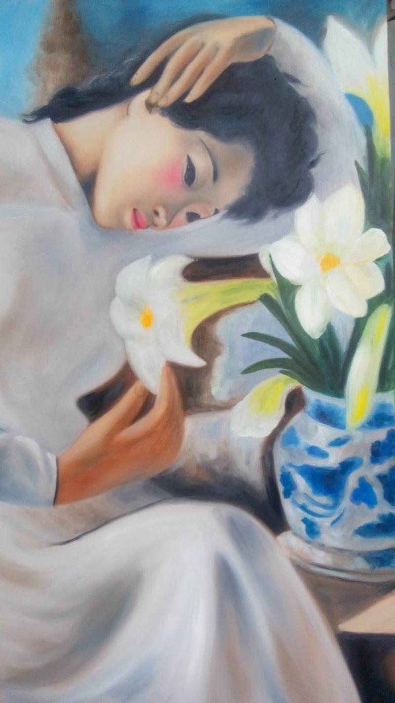 Tranh son dau thieu nu ben hoa hue
