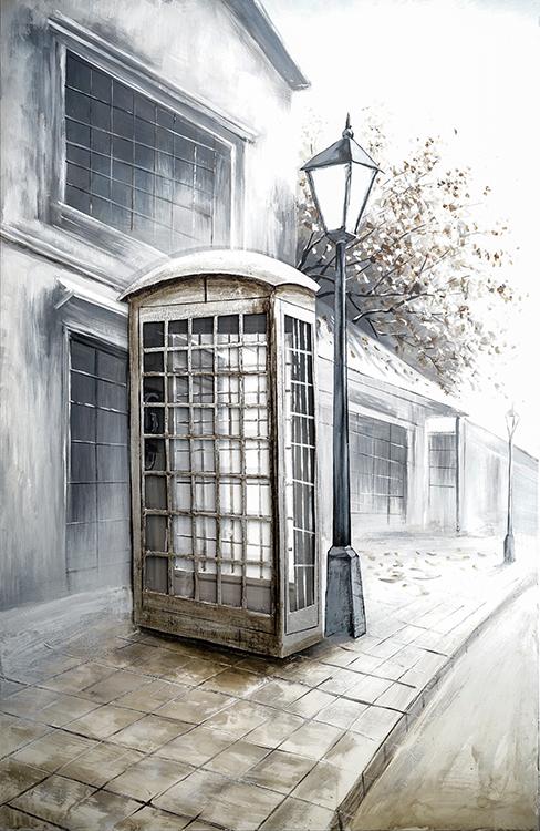 tranh noi son dau thu cong telephone booth